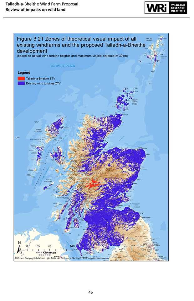 Wind Farms visible from at least 60 of Scotland MAP Scotland