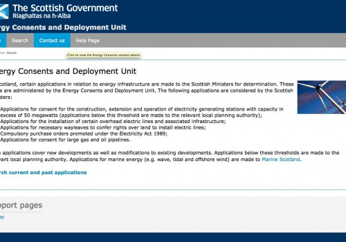 Scottish Government Energy Consents and Deployment Unit – New Online facility
